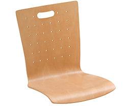 Lot de 2 chaises coques - hêtre naturel, fente-poignée et perçages, rembourré