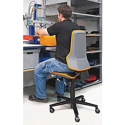 bimos Arbeitsdrehstuhl mit Alugestell - mit Rollen - Stoff, Flexband orange