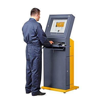 QUIPO PC-Terminal - HxBxT 1600 x 650 x 600 mm - schiefergrau / melonengelb