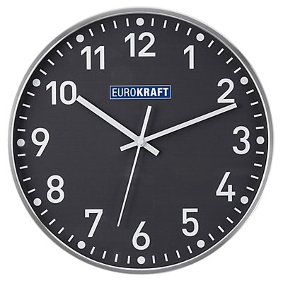 EUROKRAFT Wanduhr, Ø 300 mm - Funkuhrwerk - Zifferblatt weiß