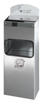Wandascher mit Hinweisschild - Edelstahl, HxBxT 505 x 200 x 125 mm - rostfrei