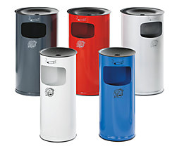 Combiné cendrier-poubelle de sécurité en tôle d'acier - hauteur 710 mm, capacité poubelle 44 l