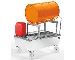 Auffangwanne fahrbar, Stahlblech - für 200-l-Fass, 1 x liegend