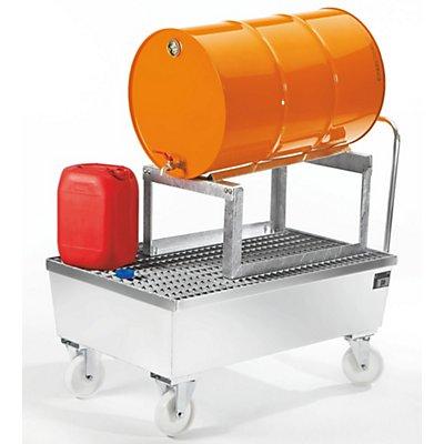 BAUER Auffangwanne fahrbar, Stahlblech - für 200-l-Fass, 1 x liegend