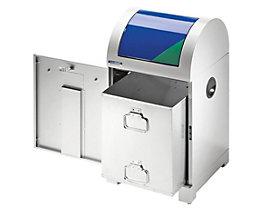 EUROKRAFT System-Wertstoffsammler 40 l - mit Innenbehälter, handbetätigt - grau / blau