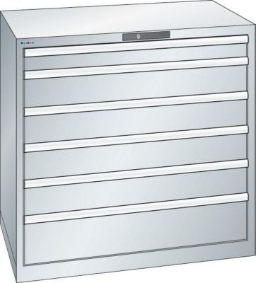 Lista Schubladenschrank, Stahlblech - HxB 1000 x 1023 mm, 6 Schubladen