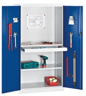 Werkzeugschrank - Türinnenseiten mit Lochprägung, Rückwand geschlossen