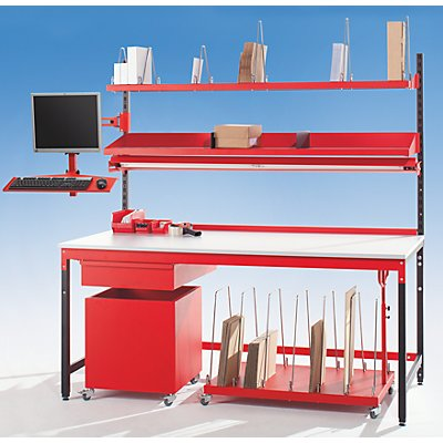 LEGRO Packtisch PROFI LINE - Komplett-Packstation mit Kartonagen-Magazinbord - inkl. 9 Trennbügel