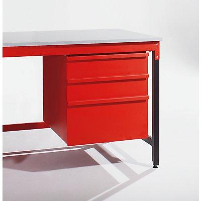 Schubladenblock - HxBxT 630 x 600 x 650 mm - 2 x 150 mm, 1 x 300 mm, abschließbar