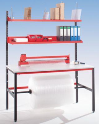 Packtisch STARTER - mit Ablagebord und Schneidgerät - Arbeitsfläche BxT 1600 x 850 mm