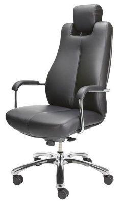 Operator-Drehstuhl - Bürodrehsessel, Softleder - schwarz, Kopfstütze
