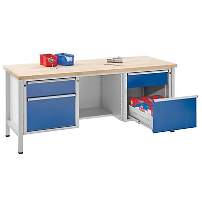 ANKE Werkbank, stabil - 2 Schubladen, 2 Türen, ½ Ablageboden