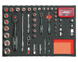 Werkzeugset in Weichschaumeinlage - Betätigungswerkzeuge ¼″ + ½″