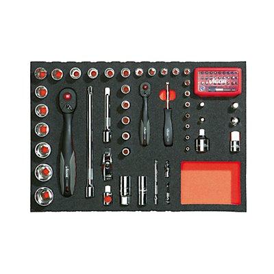VIGOR Werkzeugset in Weichschaumeinlage - Betätigungswerkzeuge ¼ + ½ - 79-teilig