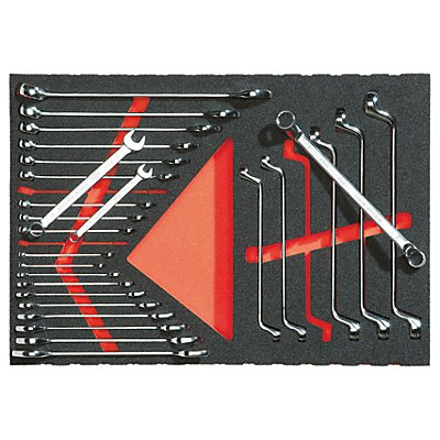 Werkzeugset in Weichschaumeinlage - Ring- und Maulschlüssel - 27-teilig