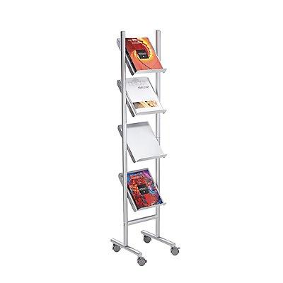 Prospektständer - Kapazität 4 x DIN A4 - alusilber