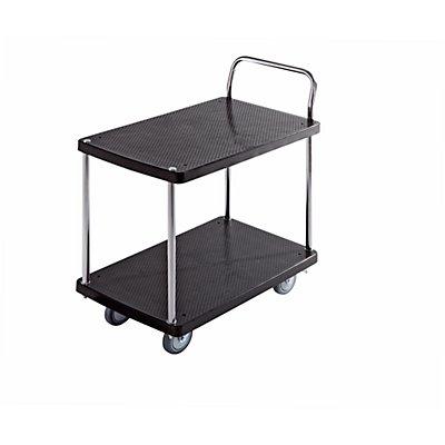 Servier-Tischwagen - 2 Etagen, 1 Schiebebügel - Tragfähigkeit 230 kg