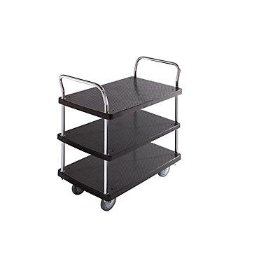 Servier-Tischwagen - 3 Etagen, 2 Schiebebügel