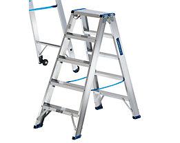 EUROKRAFT Stehleiter, beidseitig begehbar - Scharnier belastbar, Stufen profiliert - 2 x 5 Stufen, Arbeitshöhe 2390 mm
