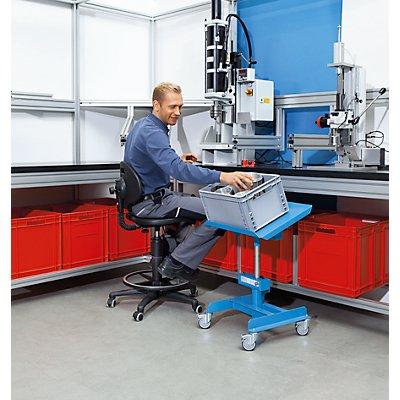 EUROKRAFT Materialständer, Tragfähigkeit 150 kg, fahrbar - Höhenverstellung ohne Last mit pneumatischer Fallbremse