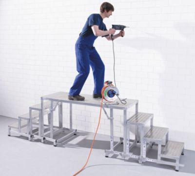 EUROKRAFT Modul-Arbeitspodest - Grundmodul, 2-stufig - Plattformhöhe 400 mm, Gewicht 5,3 kg