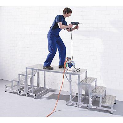 EUROKRAFT Modul-Arbeitspodest - Modul 2, 3. Stufe - Plattformhöhe 600 mm, Gewicht 4,2 kg
