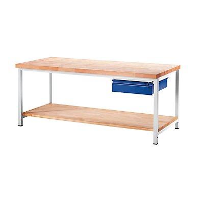 RAU Werkbank, stabil - 1 Schublade Größe L, 1 Ablageboden Buche massiv