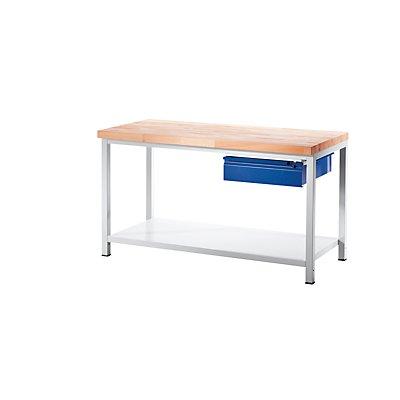 RAU Werkbank, stabil - 1 Schublade Größe L, 1 Ablageboden Stahlblech