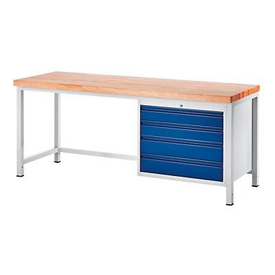 RAU Werkbank, stabil - 4 Schubladen Größe XL