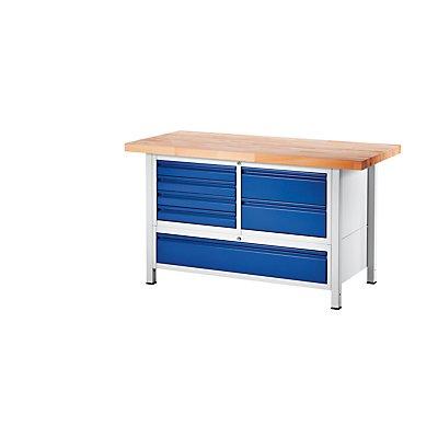 RAU Werkbank, stabil - 6 Schubladen Größe L, 1 Schublade Größe XXL