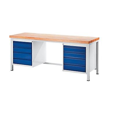 RAU Werkbank, stabil - 8 Schubladen Größe L