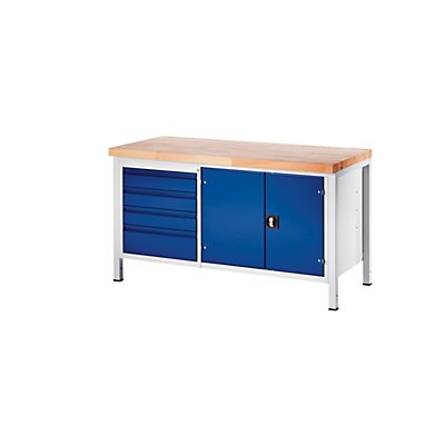 RAU Werkbank, stabil - 4 Schubladen Größe L, 1 Werkzeugschrank