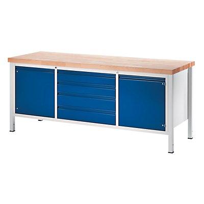 RAU Werkbank, stabil - 4 Schubladen Größe XL, 2 Türen