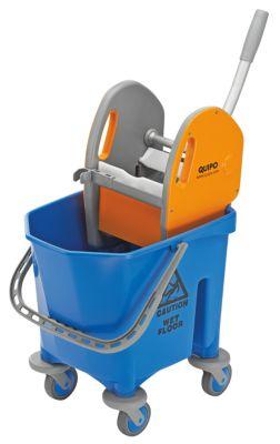 QUIPO Kunststoff-Reinigungswagen - Set mit 1 x 25-l-Einfachfahreimer - LxBxH 430 x 500 x 780 mm