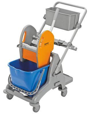 QUIPO Kunststoff-Reinigungswagen - 1 x 15-l-Einfachfahreimer - LxBxH 810 x 450 x 880 mm