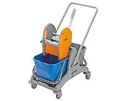 QUIPO Kunststoff-Reinigungswagen - 2 x 15-l-Doppelfahreimer