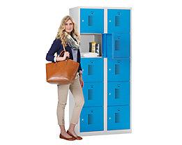 QUIPO Schließfachschrank - Breite 600 mm, 10 Fächer - Korpus lichtgrau, Türen lichtblau