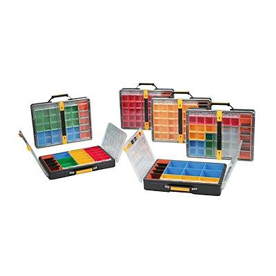 allit Kleinteile-Sortimentskoffer, VE 2 Stk - LxBxH 437 x 345 x 78 mm - Einsatzboxen 6 x blau, 3 x gelb