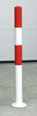 Sperrpfosten aus Stahl-Rundrohr - weiß / rot, zum Aufdübeln