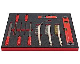 VIGOR Werkzeug-Sortiment SHAPE - Feilen und Bürsten, 20-teilig, in Hartschaumeinlage - BxT 490 x 560 mm