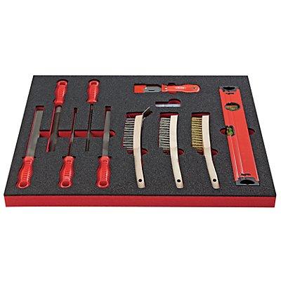 VIGOR Werkzeug-Sortiment SHAPE - Feilen und Bürsten, 20-teilig, in Hartschaumeinlage - BxT 500 x 540 mm