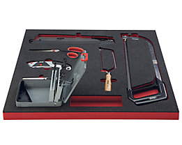 VIGOR Werkzeug-Sortiment SAW - Bohrer, Sägen, Messer, Scheren, 25-teilig, in Hartschaumeinlage - BxT 490 x 560 mm