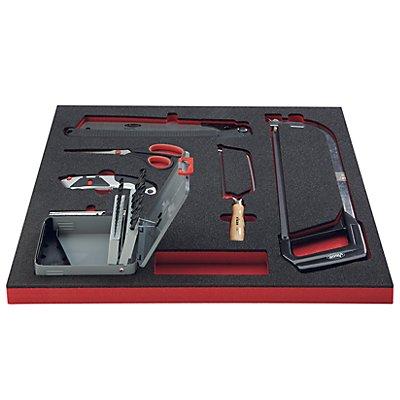 VIGOR Werkzeug-Sortiment SAW - Bohrer, Sägen, Messer, Scheren, 25-teilig, in Hartschaumeinlage - BxT 500 x 540 mm