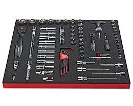 VIGOR Werkzeug-Sortiment COMBINE - Steckschlüssel, Schraubendreher Kombi-Set, 72-teilig, Hartschaumeinlage - BxT 490 x 560 mm