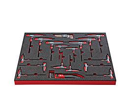 VIGOR Werkzeug-Sortiment TURN - T-Griff-Schraubendreher, 32-teilig, in Hartschaumeinlage - BxT 490 x 560 mm