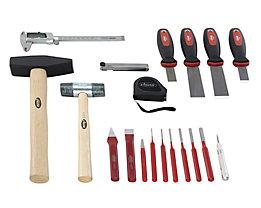 VIGOR Werkzeug-Sortiment FORM - Körner, Meißel, Hammer, Schaber, 19-teilig, in Hartschaumeinlage - BxT 490 x 560 mm