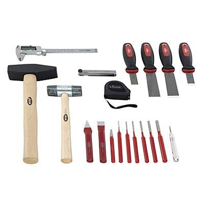 VIGOR Werkzeug-Sortiment FORM - Körner, Meißel, Hammer, Schaber, 19-teilig, lose (ohne Einlage) - Werkzeug lose