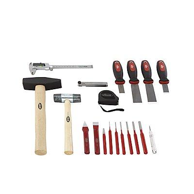 VIGOR Werkzeug-Sortiment FORM - Körner, Meißel, Hammer, Schaber, 19-teilig, in Hartschaumeinlage