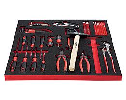 VIGOR Werkzeug-Sortiment ESSENTIAL - Kombi-Werkzeug-Set, in Hartschaumeinlage - BxT 490 x 560 mm
