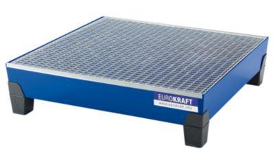 EUROKRAFT Stahl-Auffangwanne mit PP-Füßen - LxBxH 1240 x 1210 x 295 mm